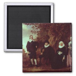 Grupo de la familia en un paisaje imán cuadrado