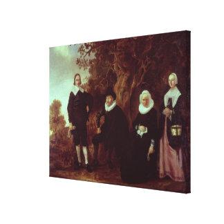 Grupo de la familia en un paisaje impresiones de lienzo