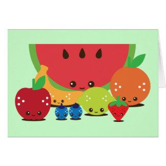 Grupo de la fruta de Kawaii Felicitacion