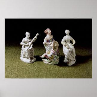 Grupo de la porcelana de Mennecy de un cantante Póster