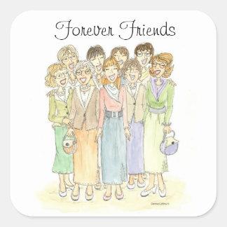 Grupo de las señoras de amigos para siempre pegatina cuadrada