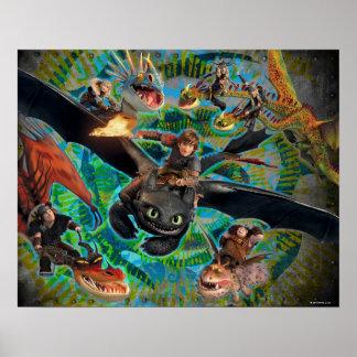 Grupo de los jinetes del dragón póster