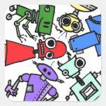Grupo de los robots 2 pegatinas cuadradases