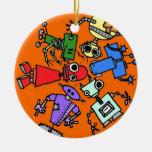Grupo de los robots 3 ornamentos de navidad