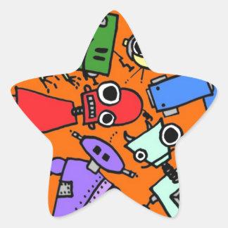 Grupo de los robots 3 pegatina en forma de estrella