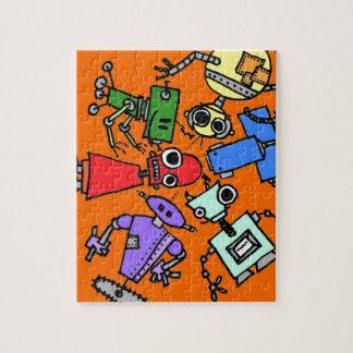 Grupo de los robots 3 rompecabeza con fotos
