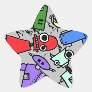 Grupo de los robots 4 pegatina en forma de estrella