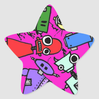 Grupo de los robots 5 pegatina en forma de estrella