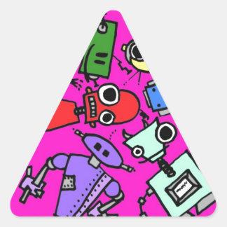 Grupo de los robots 5 pegatina triangular