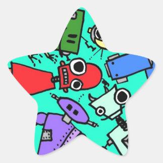 Grupo de los robots 6 pegatina en forma de estrella