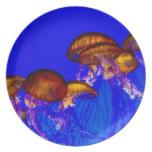 Grupo de pescados de jalea anaranjados plato para fiesta