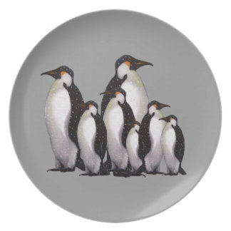 Grupo de pingüinos: Arte a pulso en colores pastel Plato De Comida