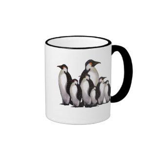 Grupo de pingüinos: Arte a pulso en colores pastel Taza De Café