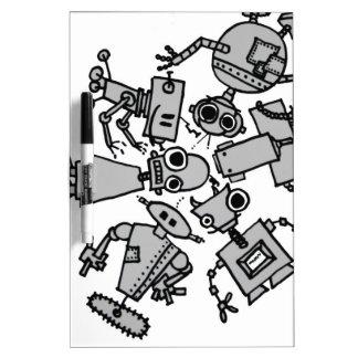 Grupo de robots tablero blanco