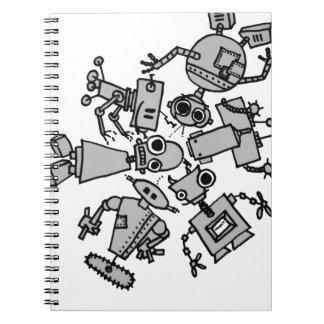 Grupo de robots libretas espirales