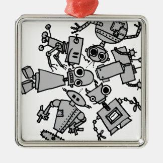 Grupo de robots ornamento de navidad