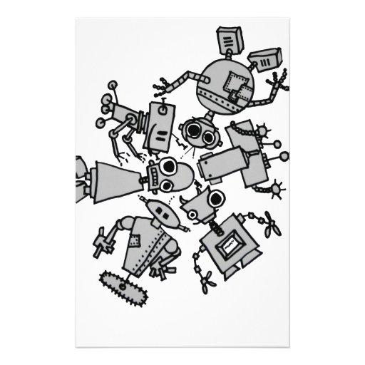 Grupo de robots papelería