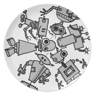 Grupo de robots plato para fiesta