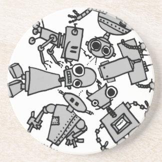 Grupo de robots posavasos diseño