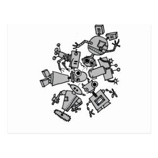 Grupo de robots tarjeta postal