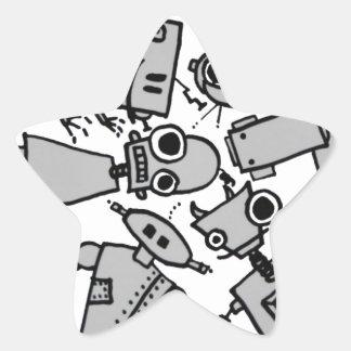 Grupo de robots colcomanias forma de estrellaes