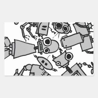 Grupo de robots rectangular pegatina