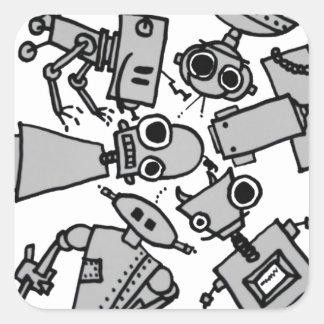 Grupo de robots calcomanía cuadrada