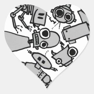 Grupo de robots pegatinas de corazon personalizadas