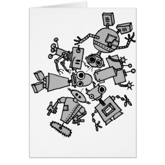 Grupo de robots tarjetón