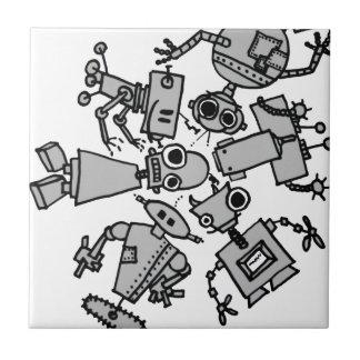 Grupo de robots azulejos cerámicos