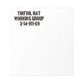 Grupo de trabajo del gorra del papel de estaño libreta para notas