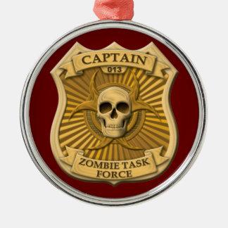 Grupo de trabajo del zombi - capitán Badge Adorno Redondo Plateado