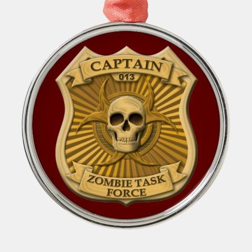 Grupo de trabajo del zombi - capitán Badge Ornamentos Para Reyes Magos