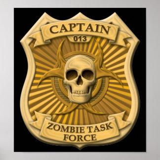Grupo de trabajo del zombi - capitán Badge Posters