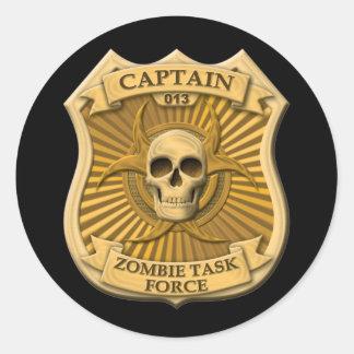 Grupo de trabajo del zombi - capitán Badge Pegatina Redonda