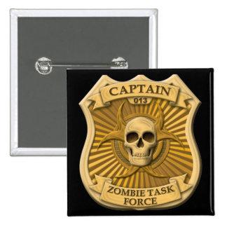 Grupo de trabajo del zombi - capitán Badge Pin Cuadrado