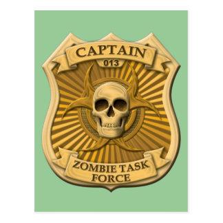 Grupo de trabajo del zombi - capitán Badge Tarjeta Postal
