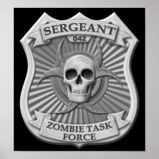 Grupo de trabajo del zombi - sargento Badge Impresiones