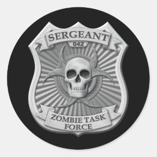 Grupo de trabajo del zombi - sargento Badge Pegatinas Redondas