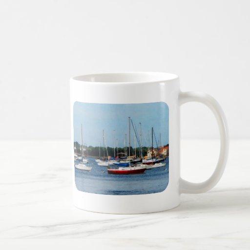 Grupo de veleros Newport RI Taza