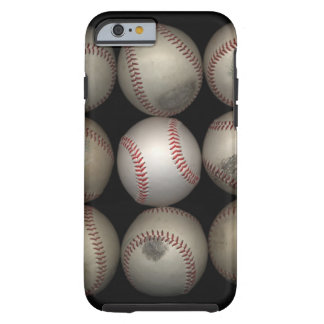 Grupo de viejos béisboles en fondo negro funda resistente iPhone 6