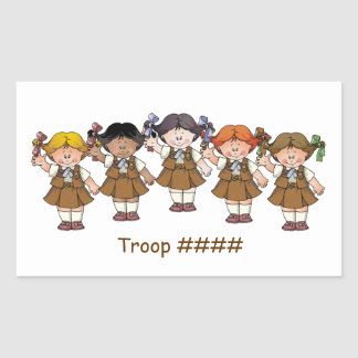 Grupo del brownie pegatina rectangular