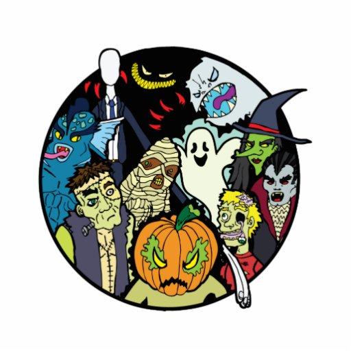 Grupo del monstruo de Halloween Fotoescultura Vertical