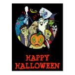 Grupo del monstruo de Halloween Postal