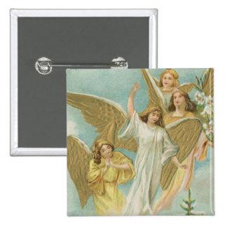 Grupo del vintage de ángeles del navidad pin cuadrada 5 cm