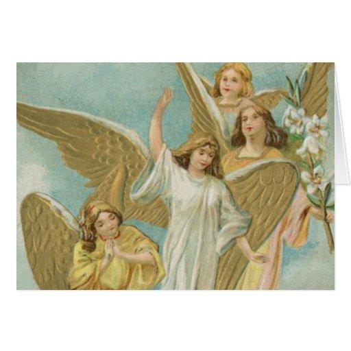 Grupo del vintage de ángeles del navidad tarjeta de felicitación