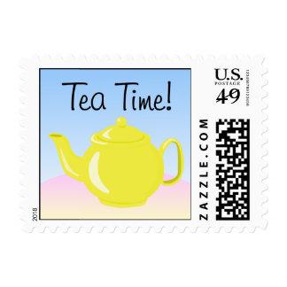 Grupo fecha/hora del té sellos postales