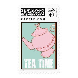 Grupo fecha/hora del té timbres postales