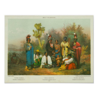 Grupo indio de Kikapú, Casimiro Castro, 1864 Impresiones