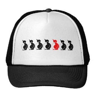 Grupo redondo del pingüino gorras